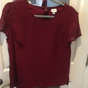 Burgundy blouse with zipper